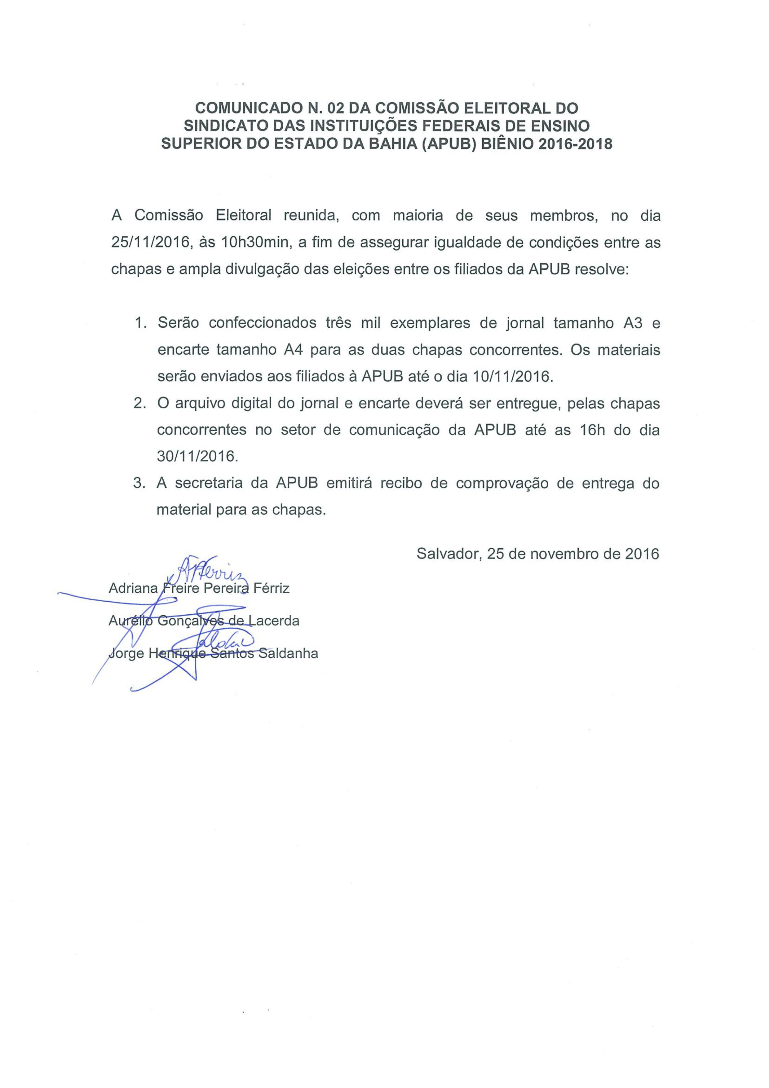 COMUNICADO N 1 DA COMISSAO ELEITORAL PARTE 2