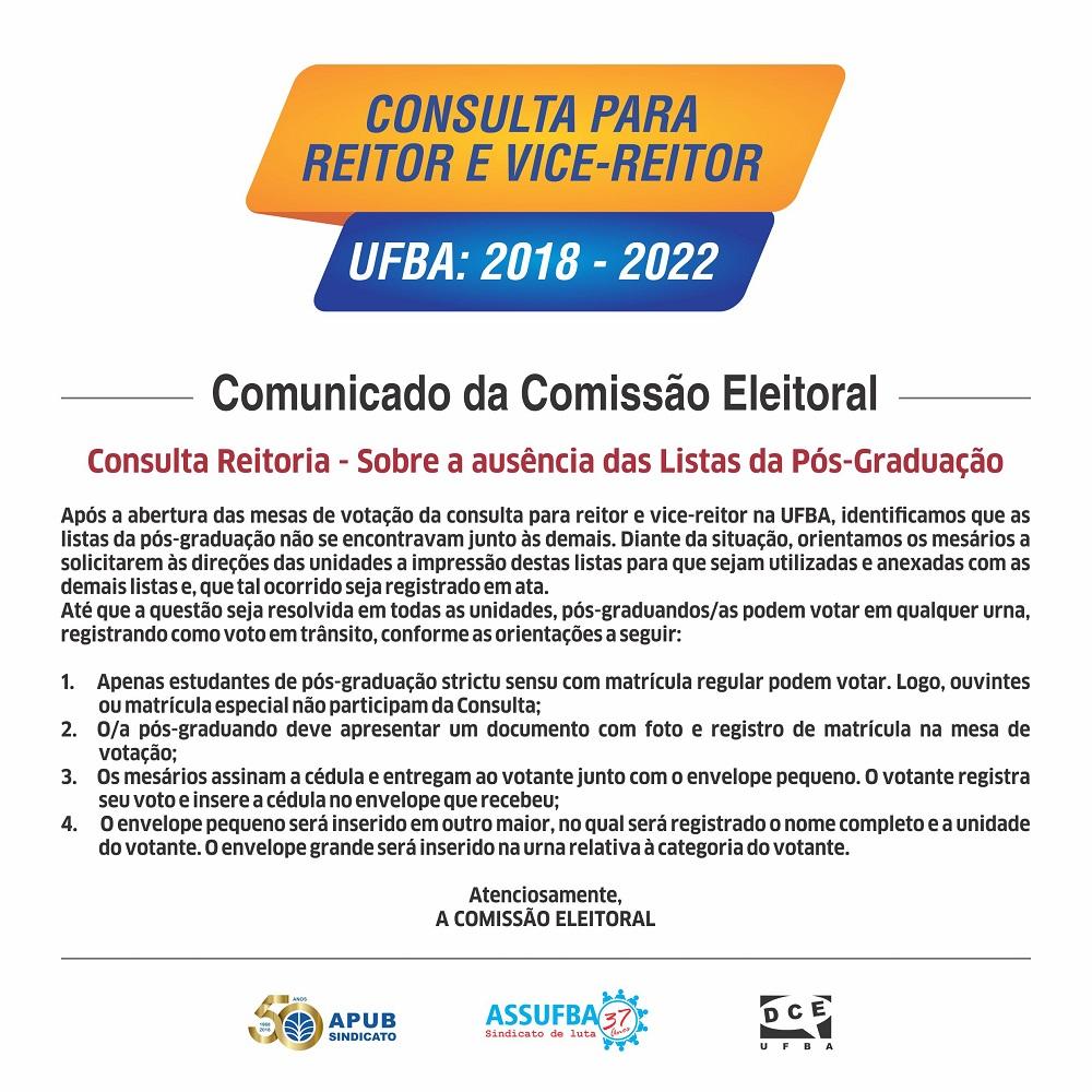 COMUNICADO COMISSAO ELEITORAL 4 A